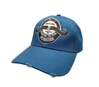 Bearded & Badass Strapback Hat Blue