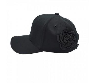 Lauren Rose Black 3D Rose Black Plain Strapback