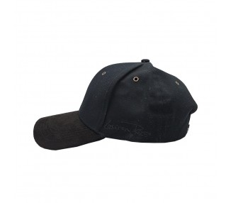 Suede Fashion Hat with Black Leather Look Panel