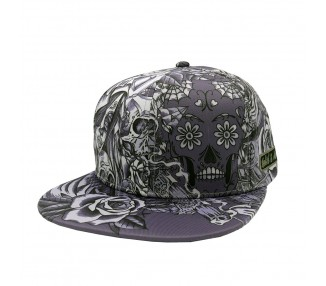 LAUREN ROSE INK'D & BADASS ALLOVER ZWARTE SNAPBACK